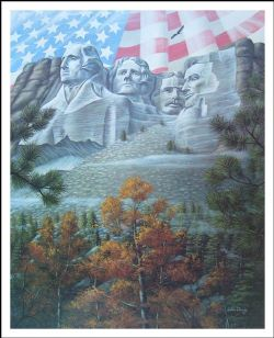 Flag Over Mount Rushmore By John Shaw