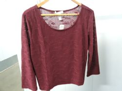 Blouse Dressy Lace Knit Blouse in Burgundy. Sz 3XL